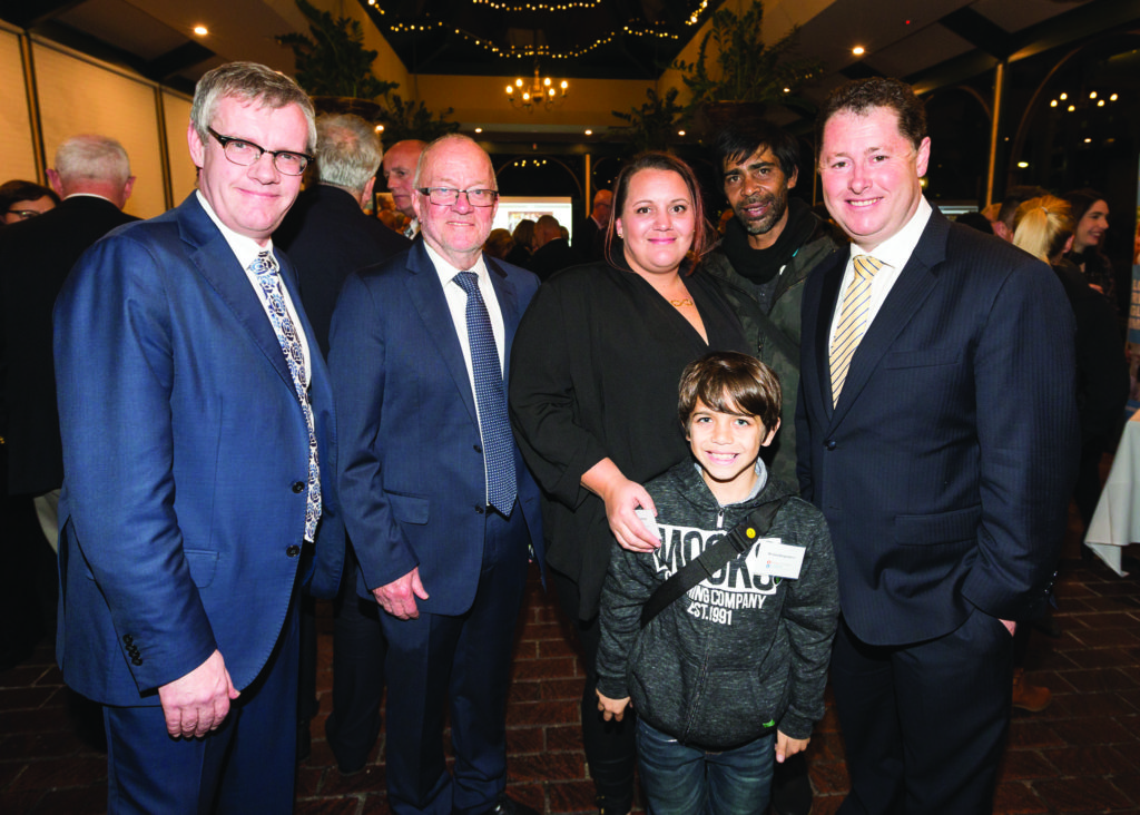 Changing lives. (L-R) Prof Coates, Prof Graeme Russ, Chanel Brown, Gary Wanganeen Jnr, Gary Wanganeen Snr and The Hon Jack Snelling, MP.